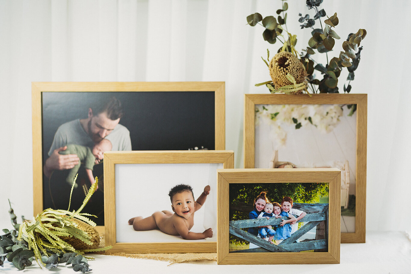 Product examples of Oak Desk Mount featuring professional family and newborn photography