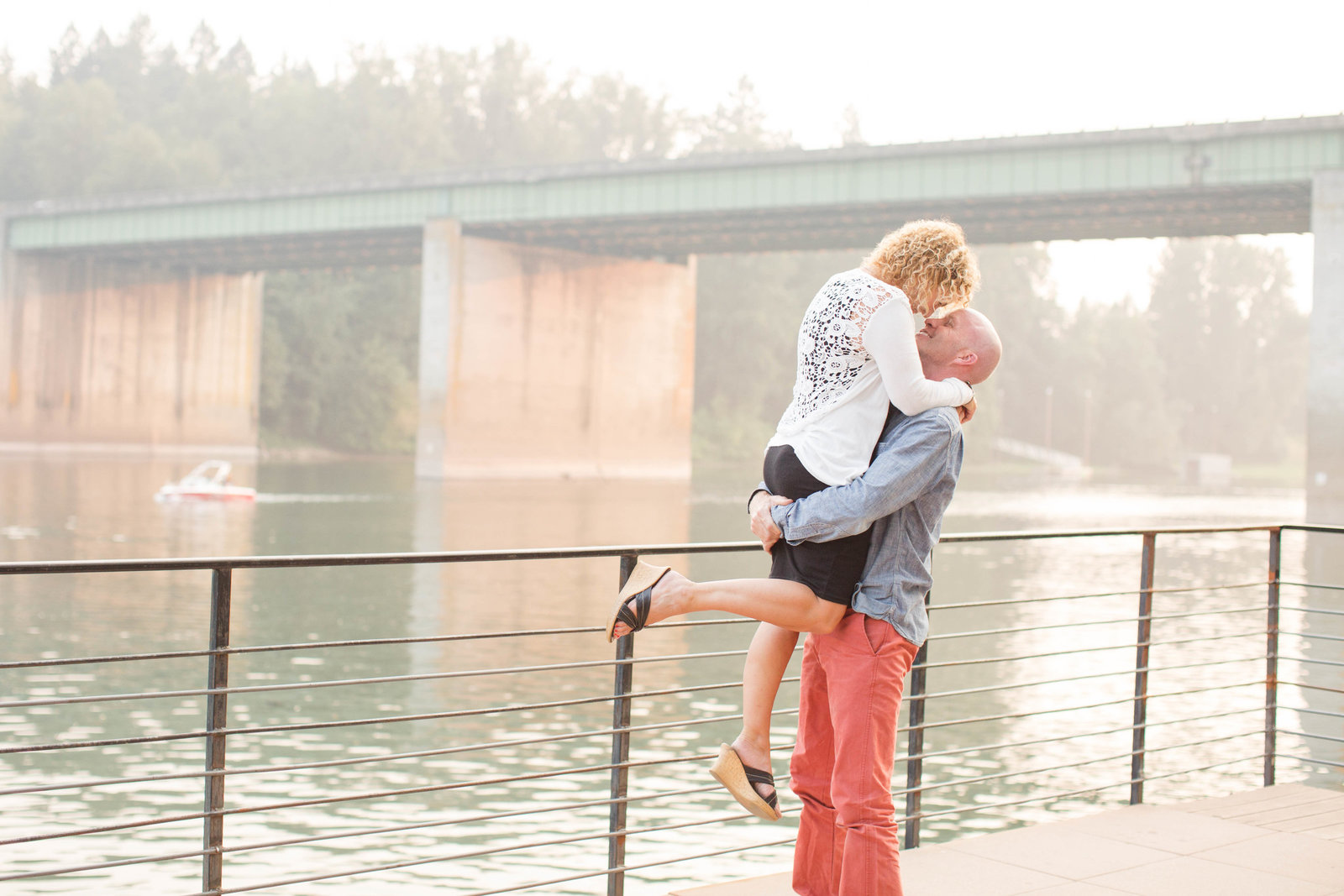 Couple on the dock of the Willamette River