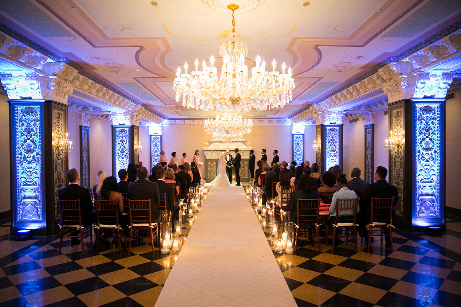 ceremony space with candles at us grant hotel
