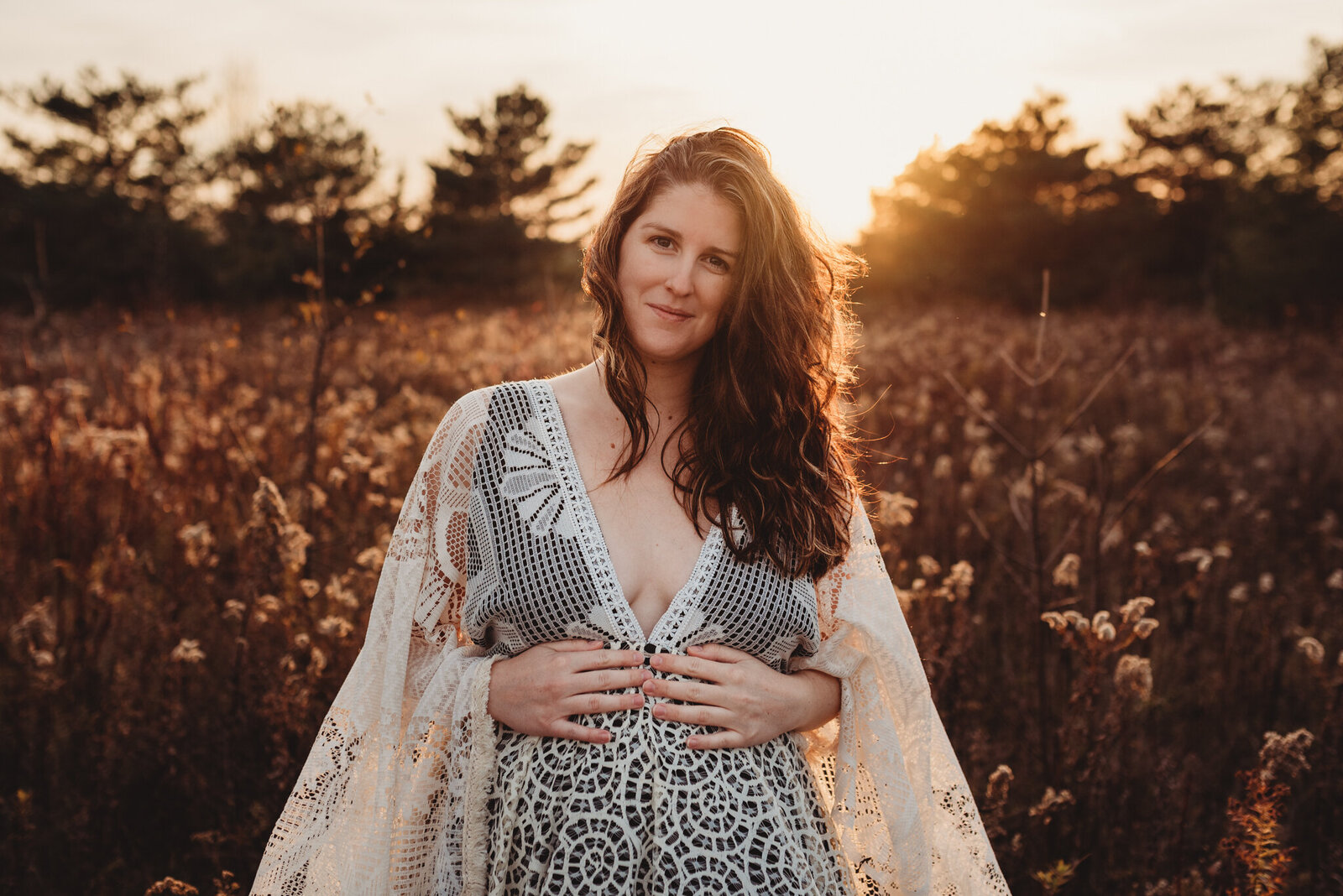 Pregnant woman at sunset in Oshawa