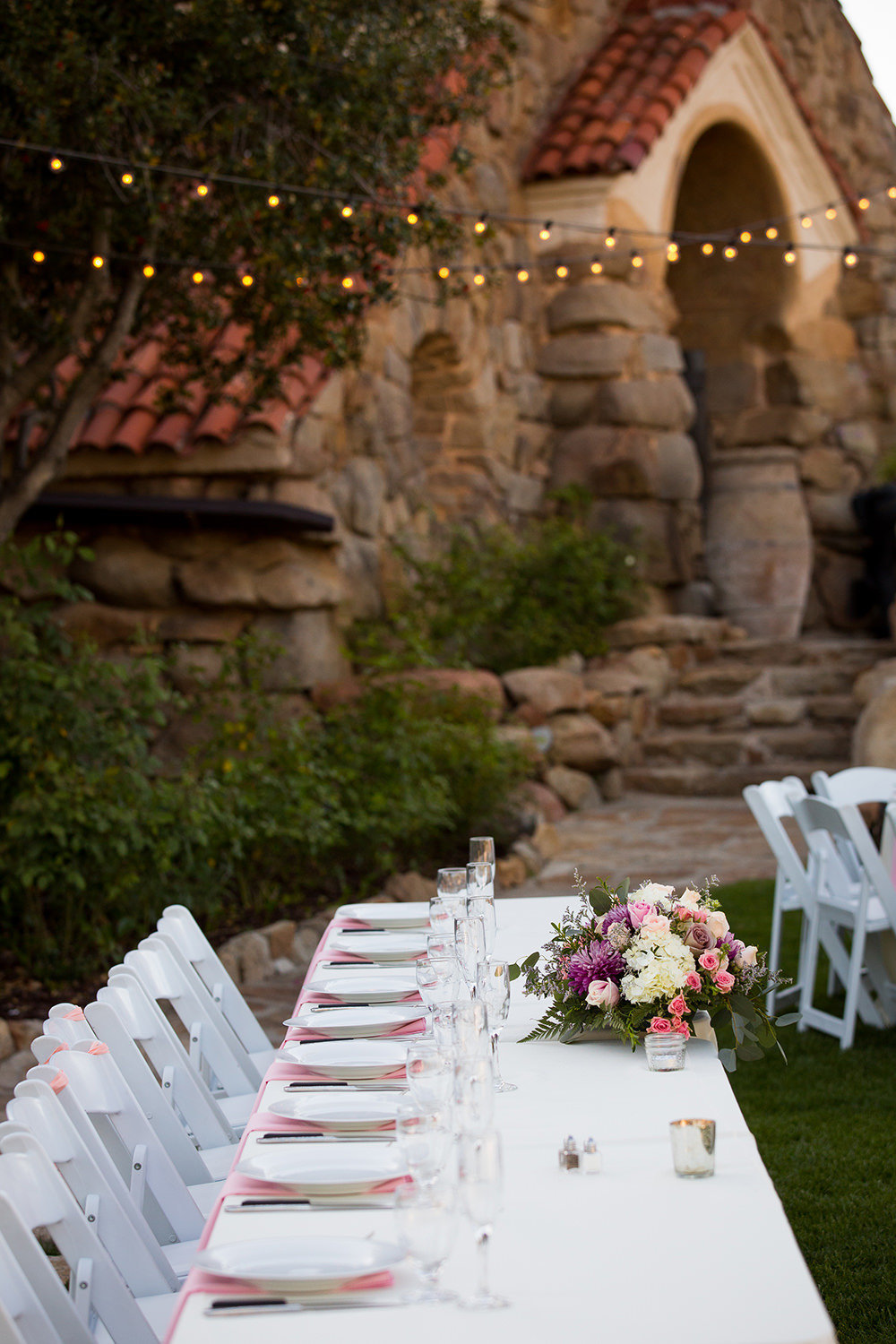 reception space with blush flowers