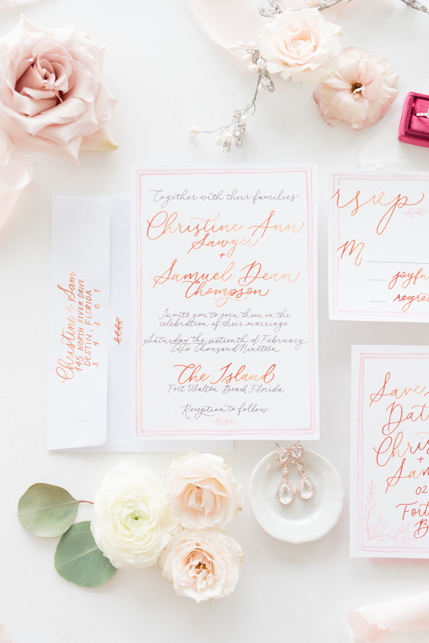 White and pink wedding invitation