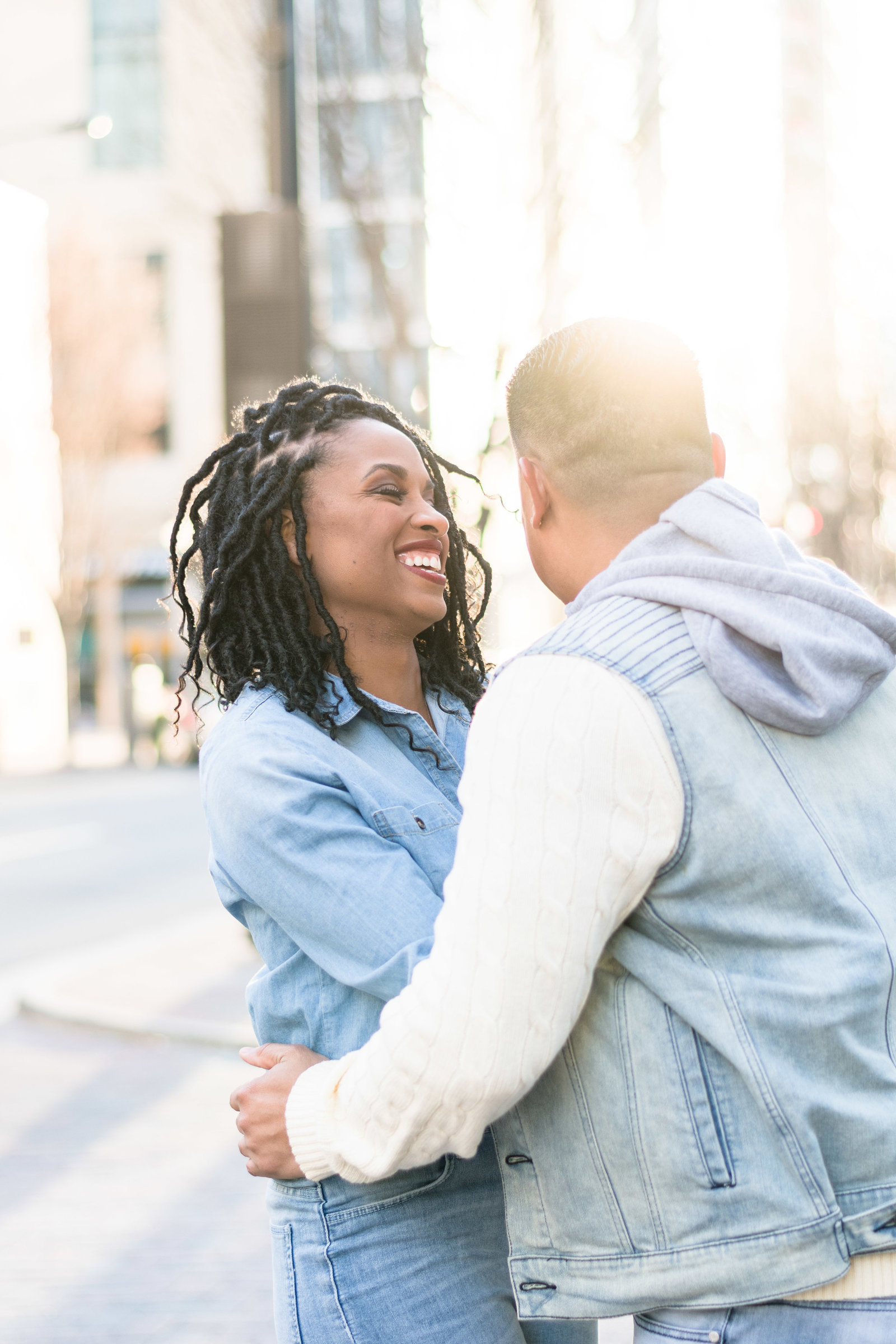 Charlotte engagement photographer shot of uptown streets in romare bearden park