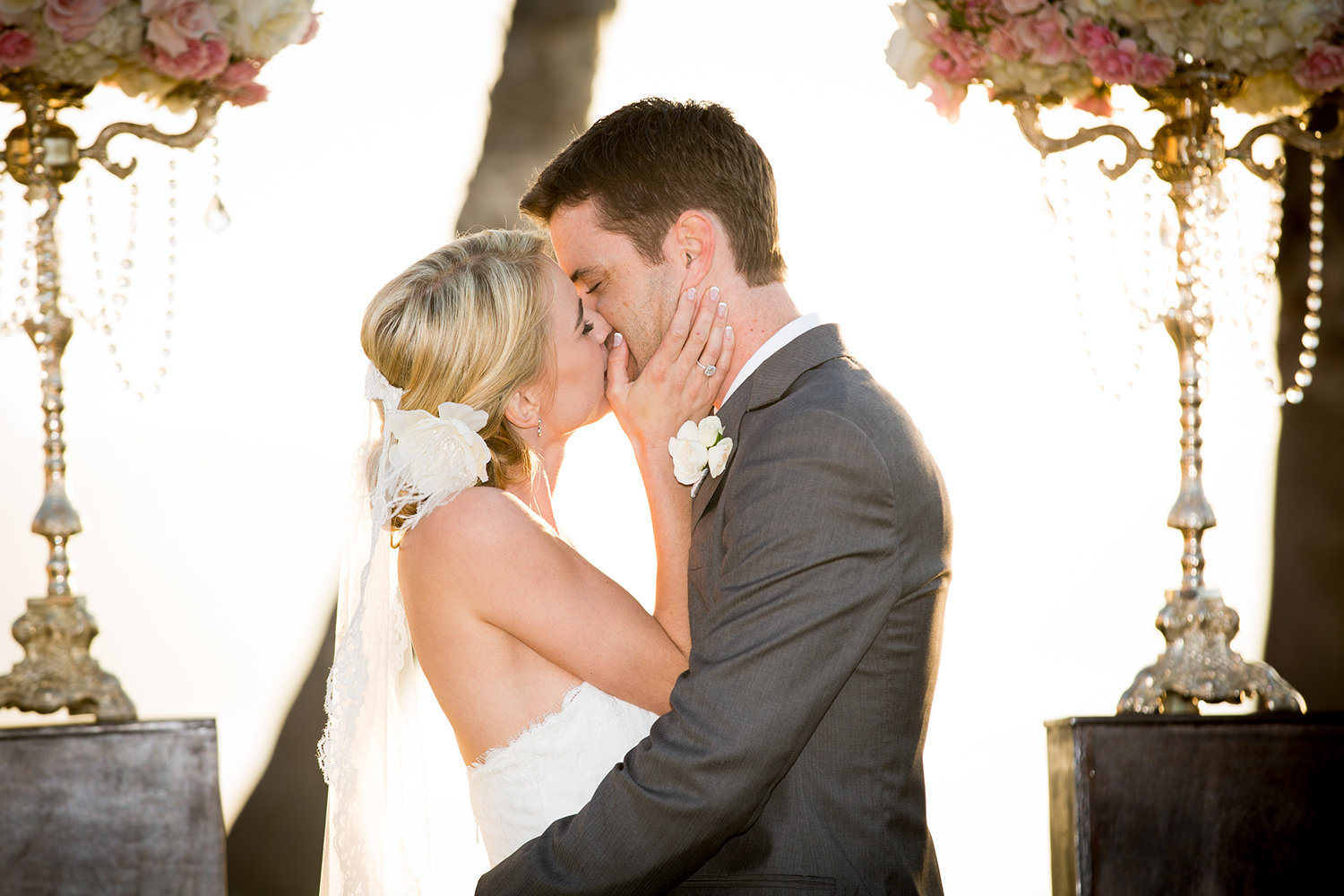 first kiss with bride and groom