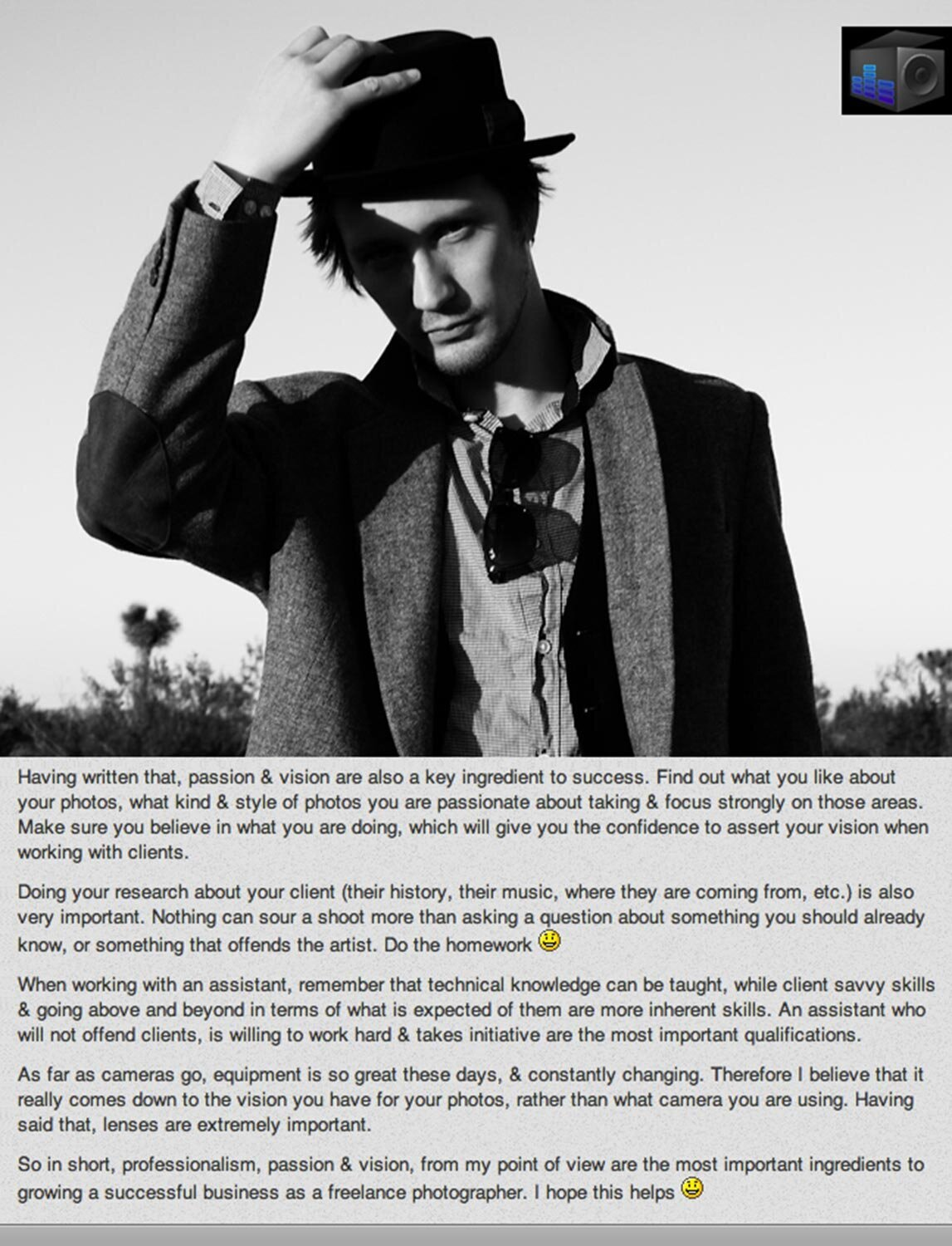 Los Angeles Photographer Interview Publication Musicbox Artist Consulting musician portrait by Mark Maryanovich black and white photo of artist standing in desert one hand to his black hat sunglasses tucked in his shirt collar text underneath page 4