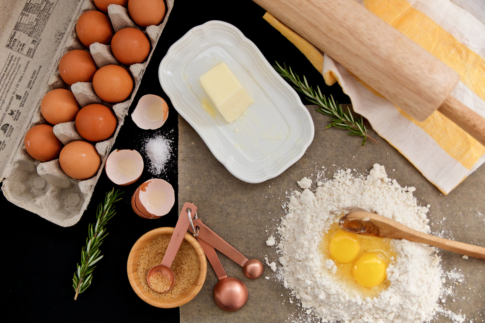 food business branding cooking photographer baking styling with eggs and flour