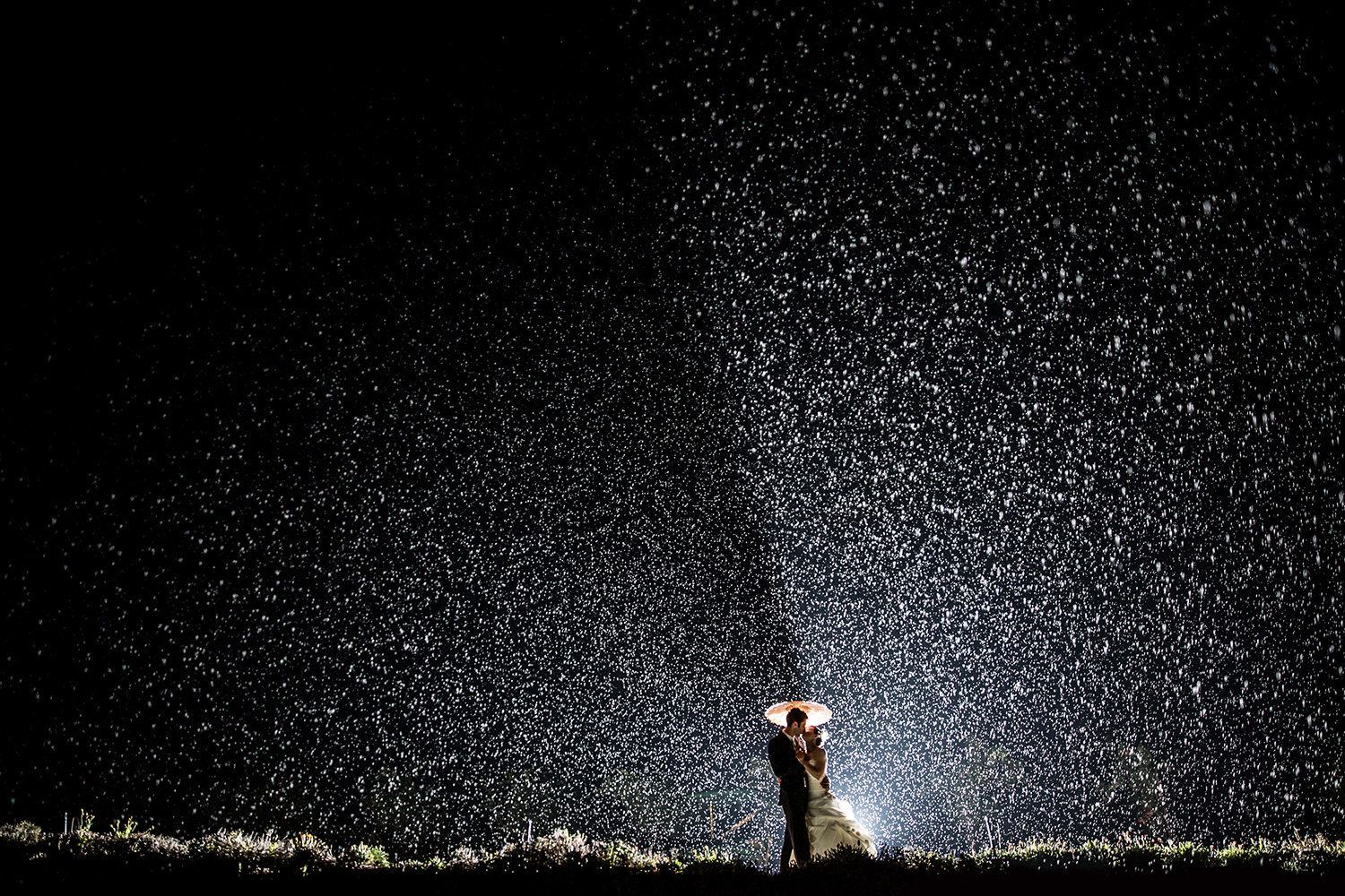 stunning rain image with bride and groom at leoness cellars