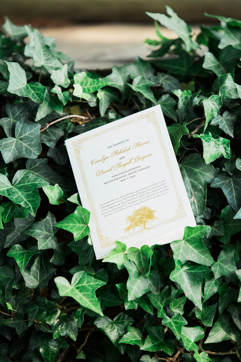 Wedding program rests in ivy, Oakland Plantation, Mt Pleasant, South Carolina. Kate Timbers Photography.