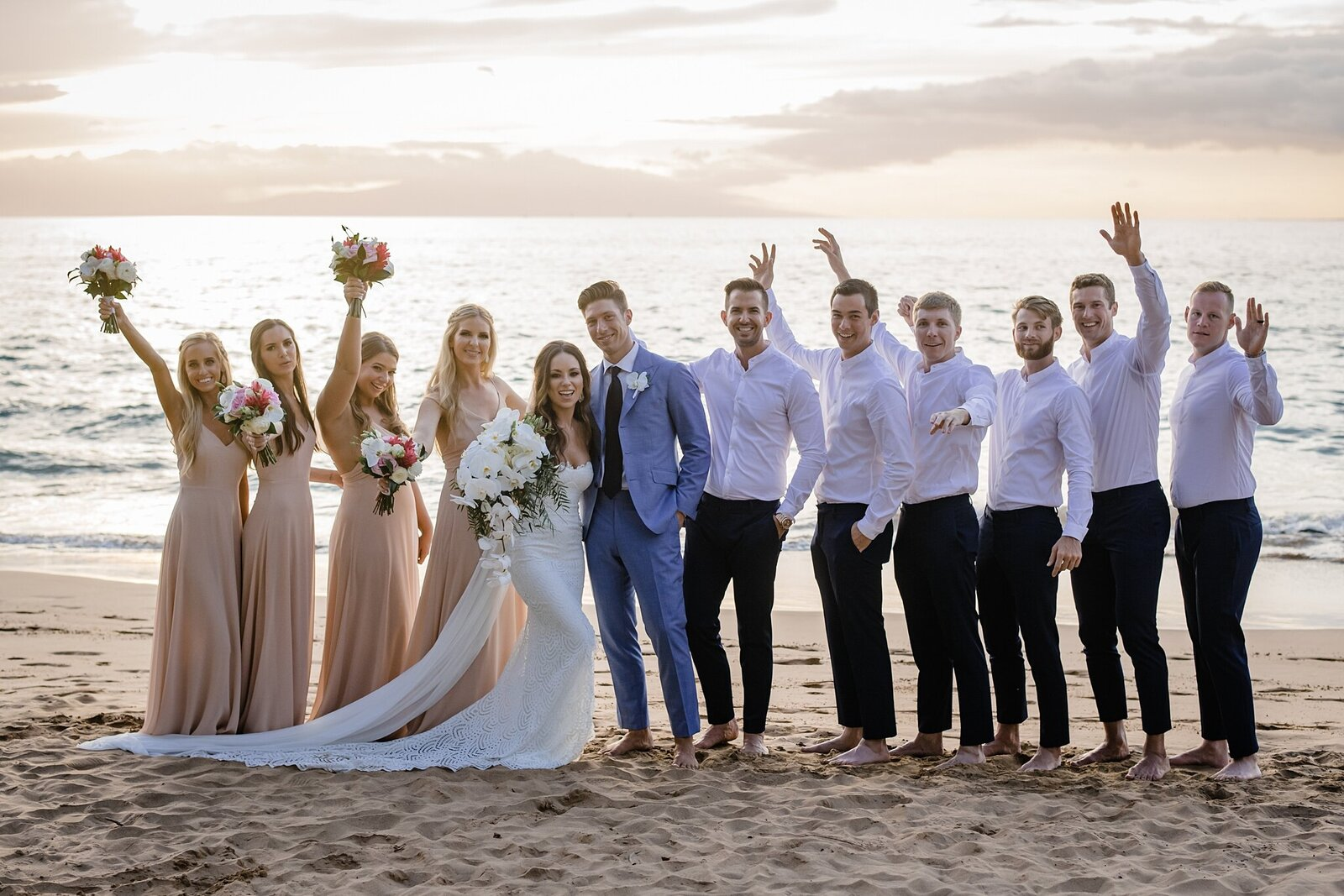 fun wedding party in hawaii