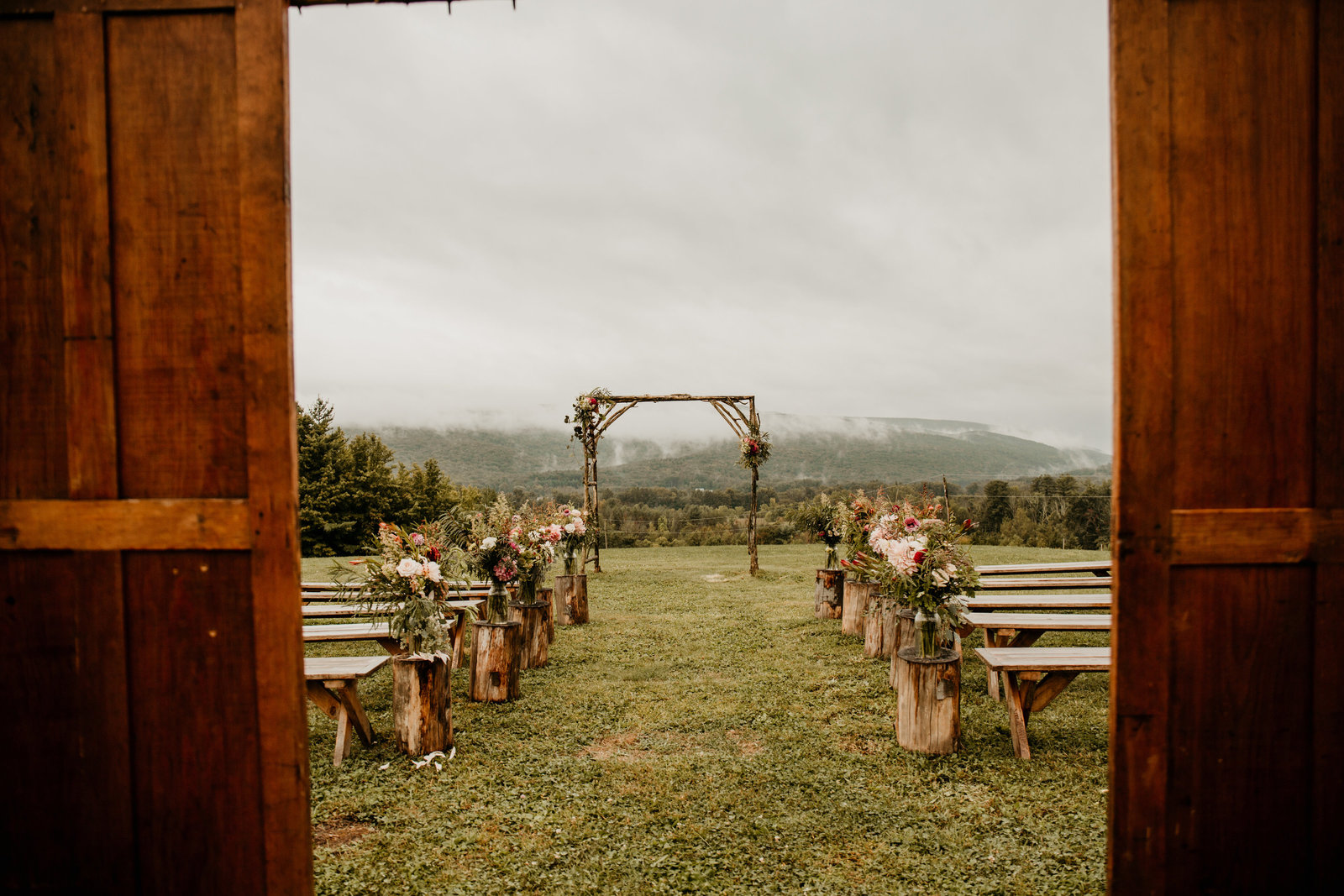 Outdoor ceremony space over looking the mountais.