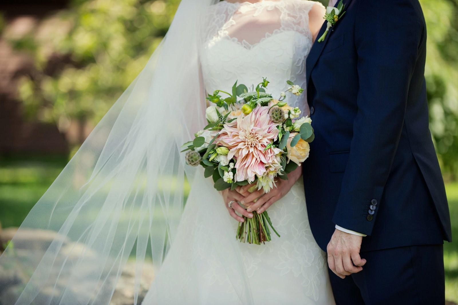 Gorgeous bridal bouquet with garden roses, and dahlias for home wedding in Connecticut CT