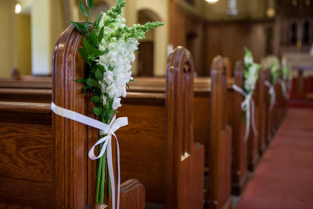 Church pew flowers for Eisenhower House wedding in Newport, RI