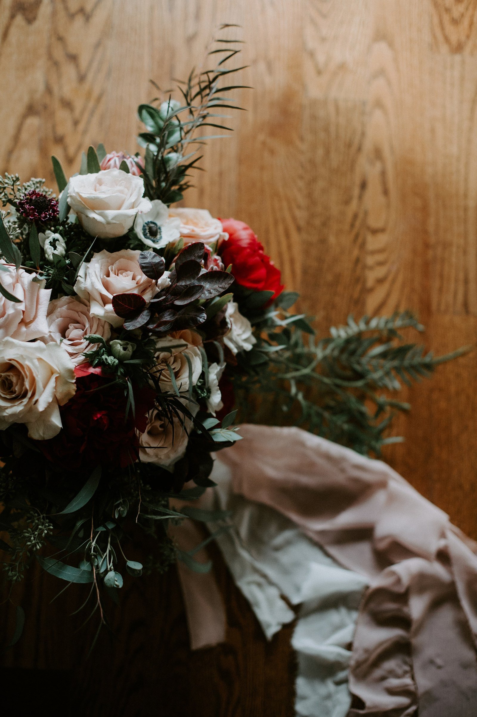 Rustic & Romantic fall wedding bouquet in pink, eggplant and green