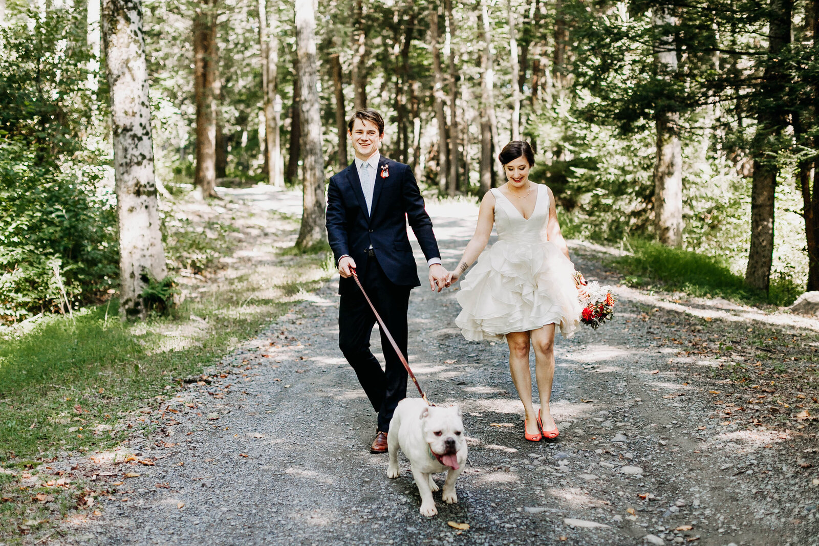 bride and groom with bulldog in mountains