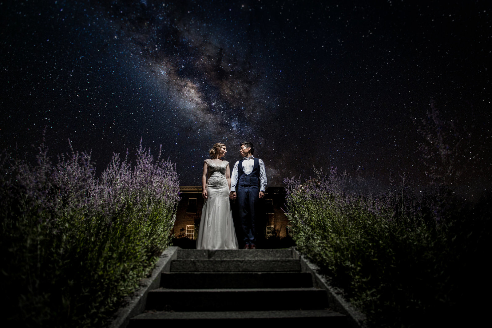 A Bride and Groom stand at the top of stairs lined with lavender. Behind them is a starry sky. They're looking at each other and smiling.