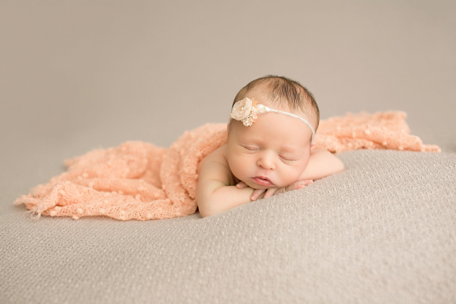 Newborn girl pin peach