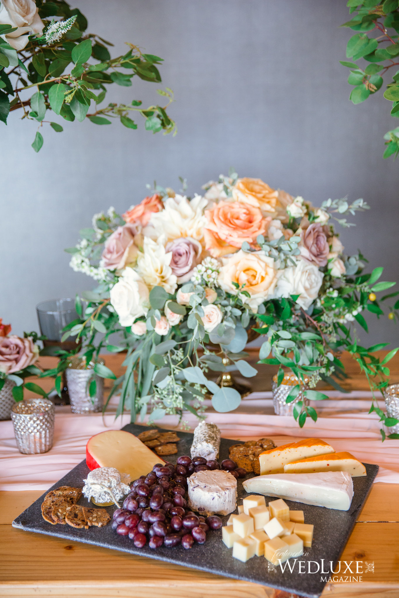 Styled Wedluxe Magazine Rustic Retreat charcuterie  board