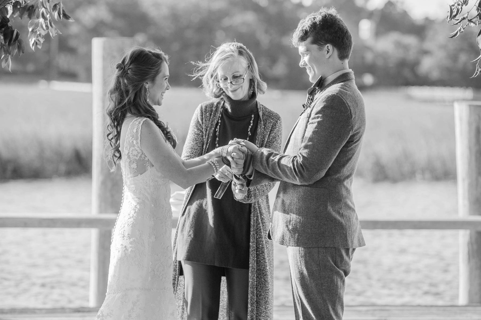 Bride and groom exchange vows, Boone Hall Plantation, Charleston, South Carolina