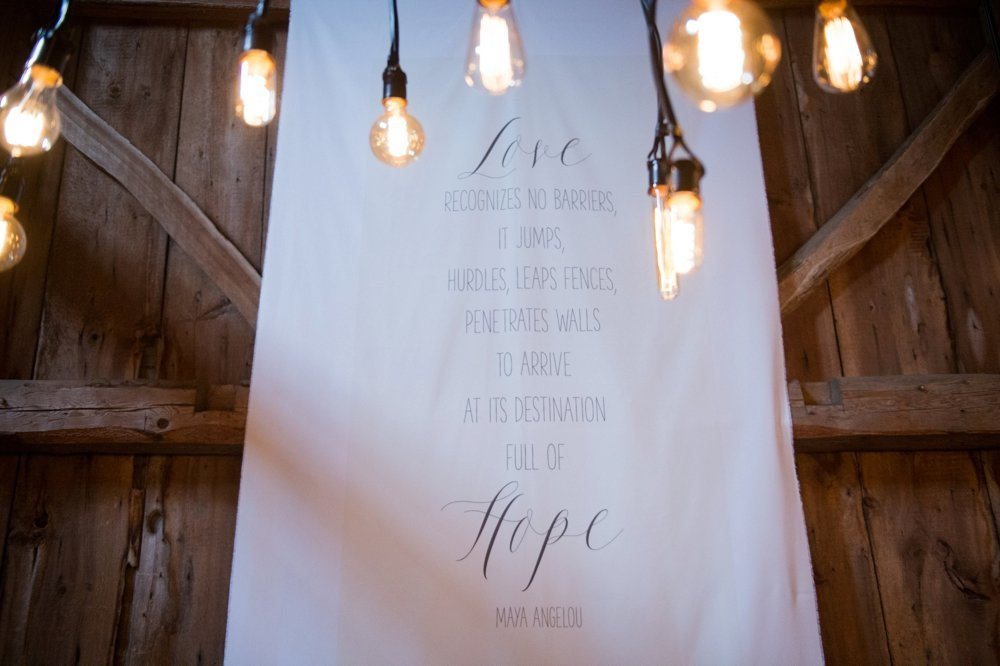 Custom fabric quote banners for wedding at The Barn on Walnut Hill