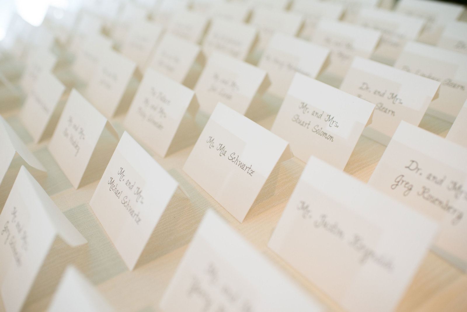 place cards at Engineers Country Club