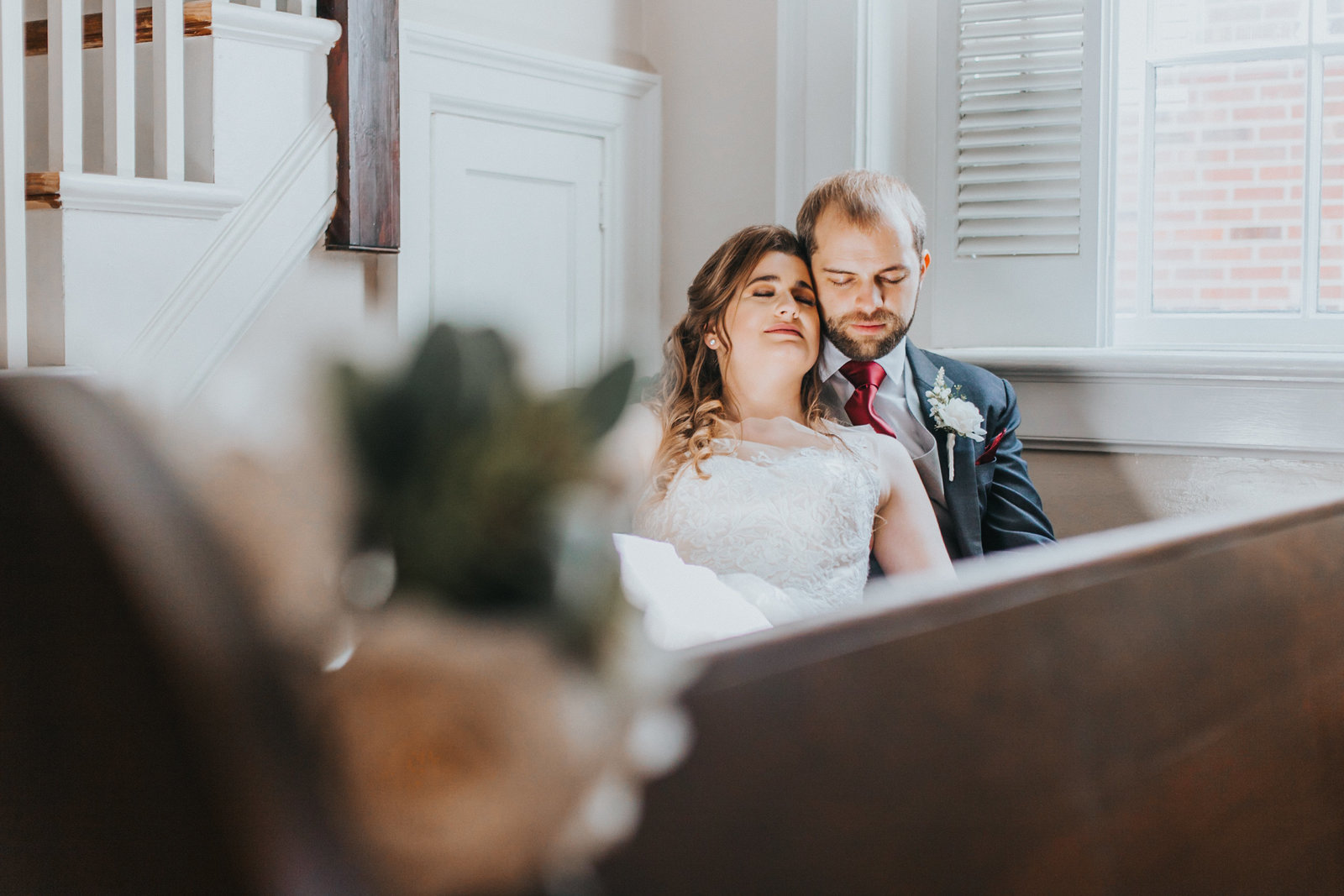 Bride and Groom Portrait at Historic Church Newport News VA