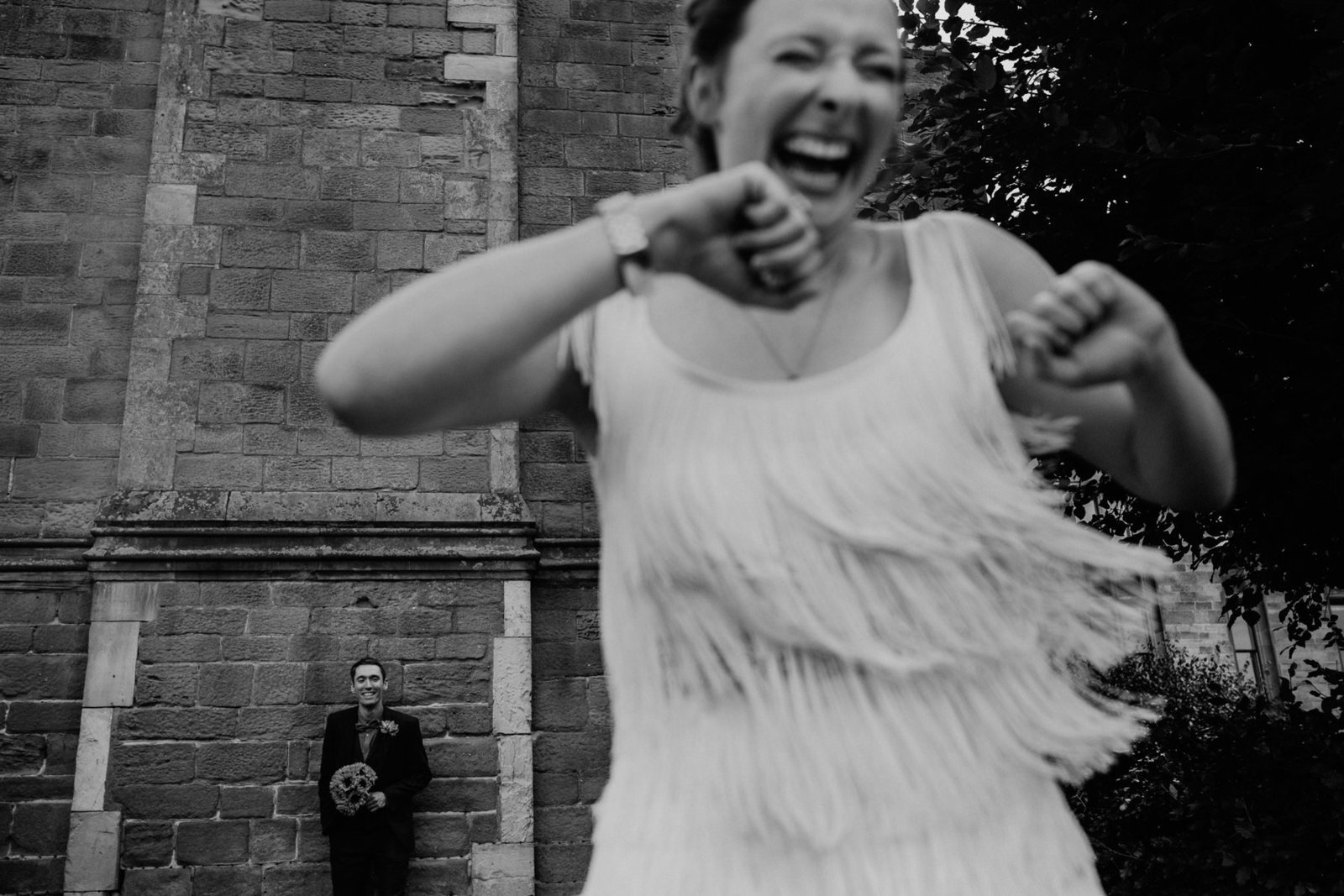 Bride and groom at allerton castle. Yorkshire wedding photographer