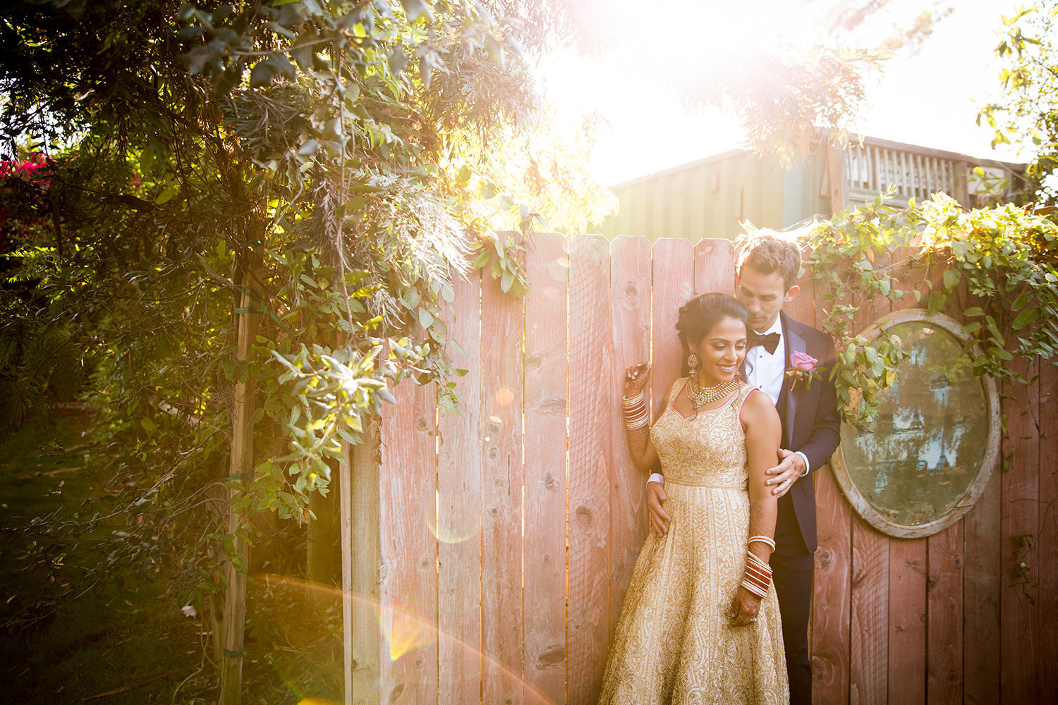 Sunlight Flare with a lovely Hindu Bride and Groom in a Garden