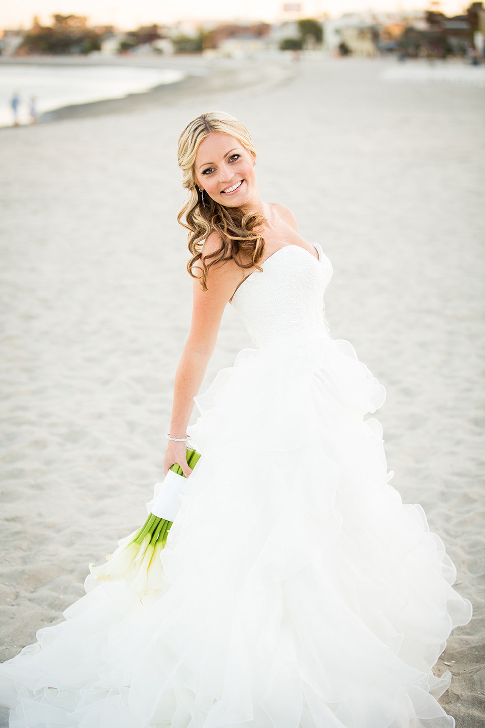 bride on beach with beautiful dress