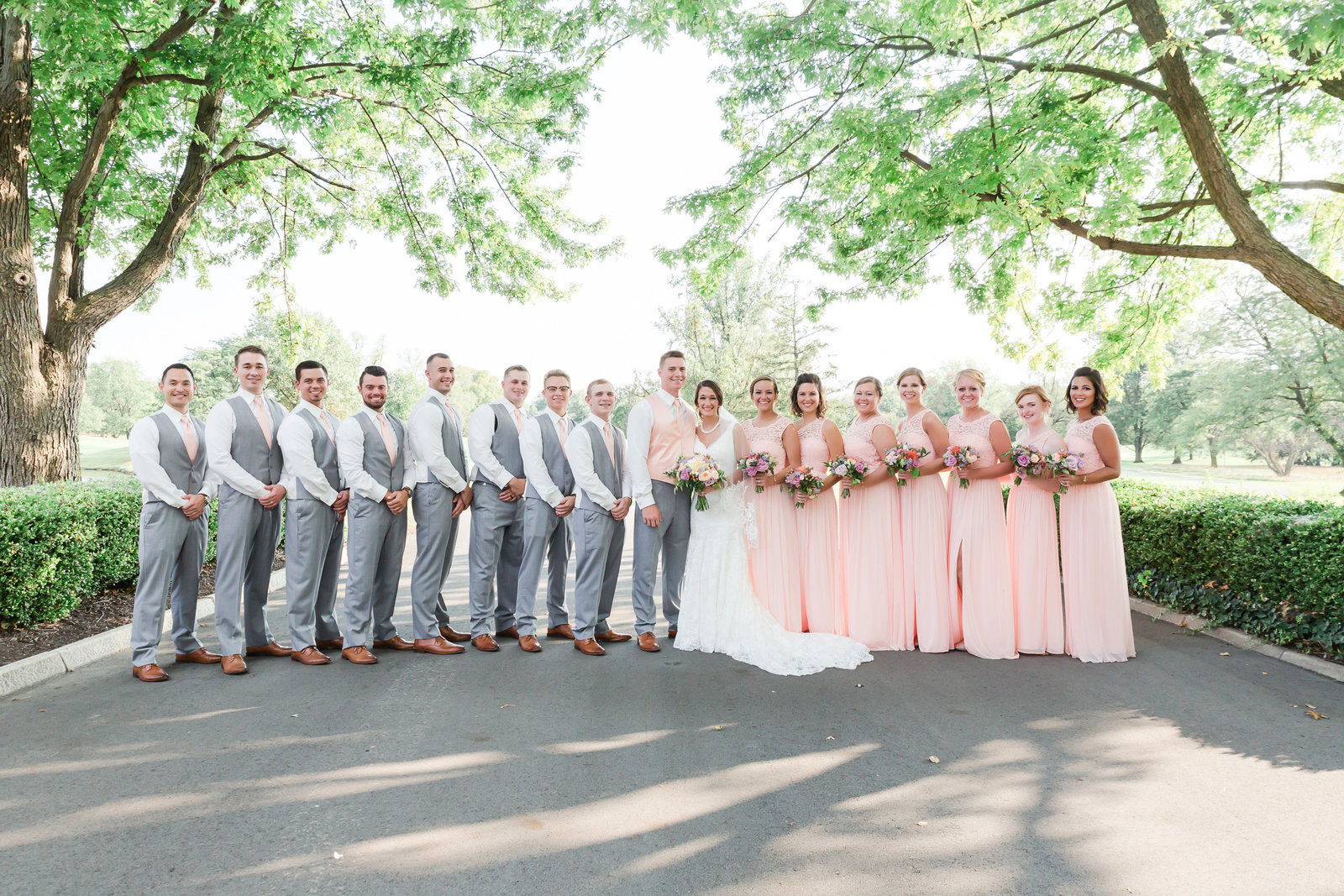 Bridal party at Orchard Ridge Country Club wedding