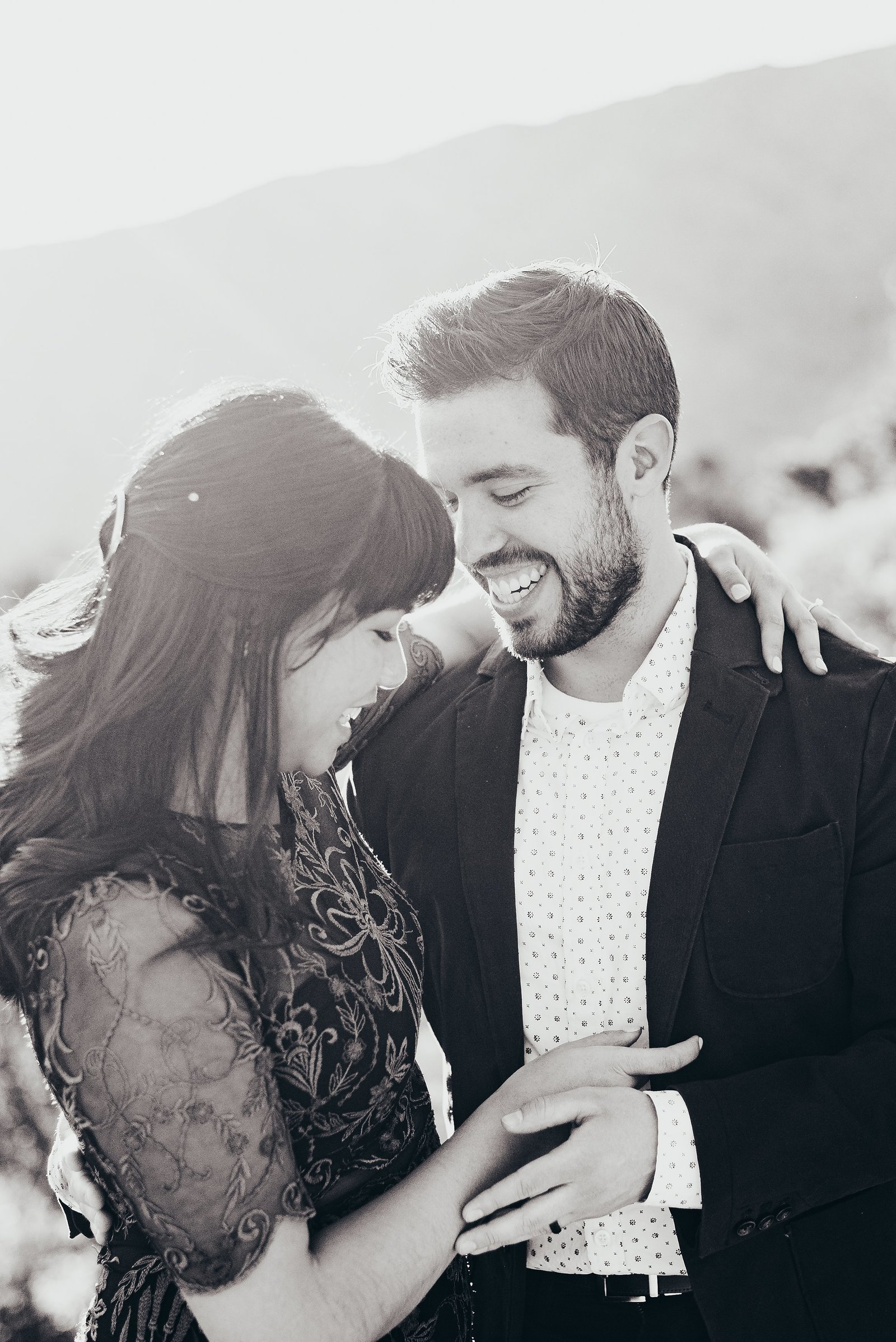 Black-And-White-Engagement-Photo