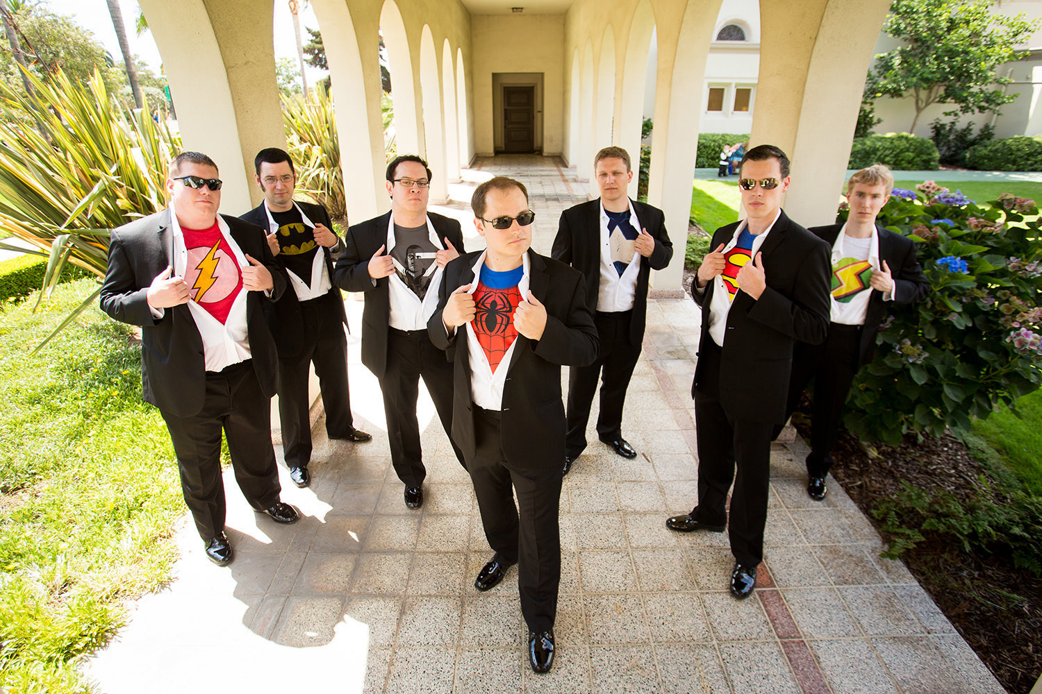 bridal party at the immaculata with super hero shirts