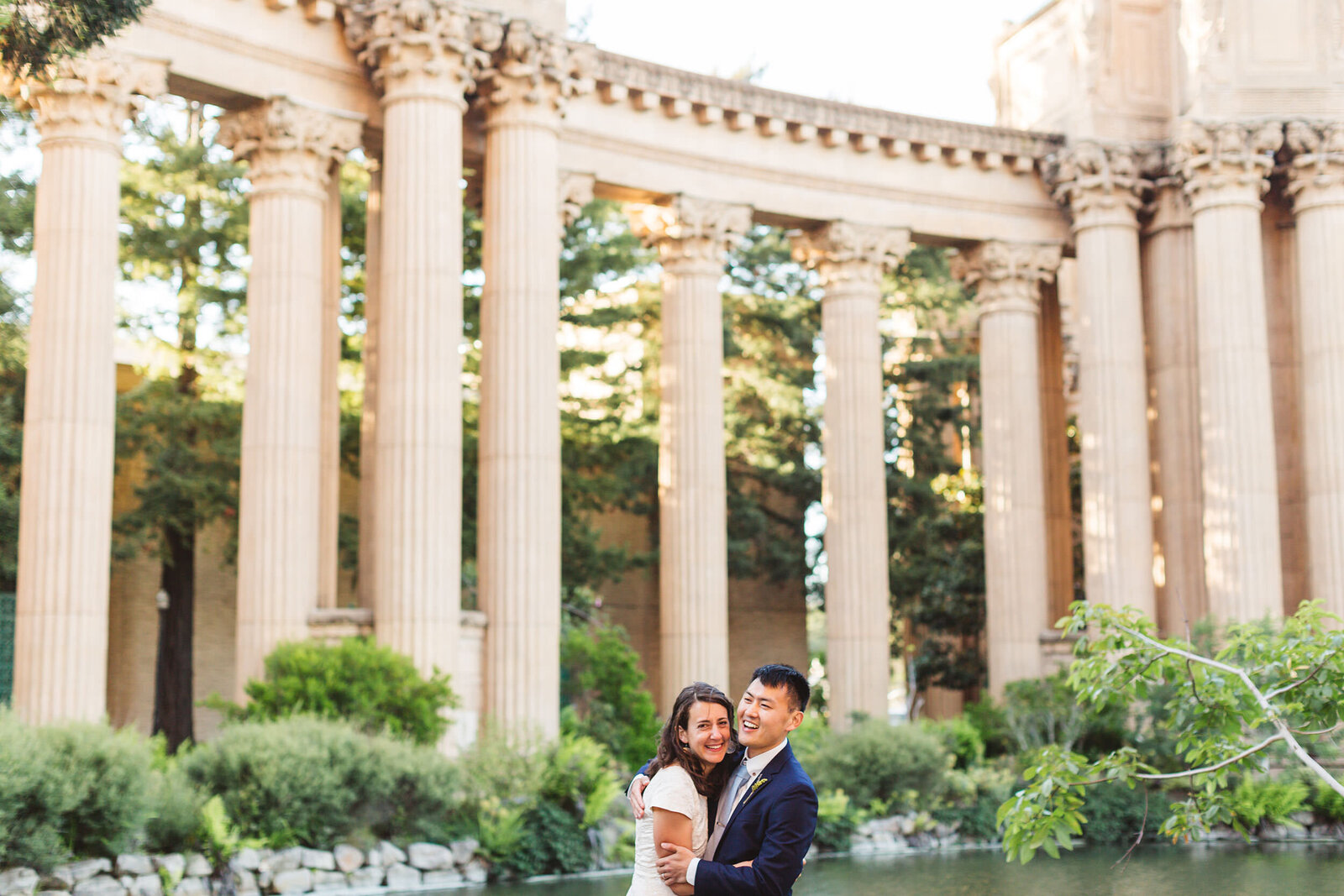 intimate elopement photos at palace of fine arts san francisco
