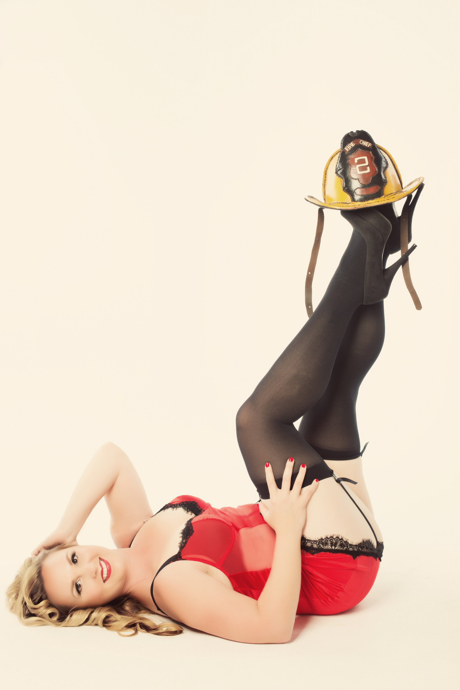 sexy firefighter pin up boudoir, tempe boudoir photography