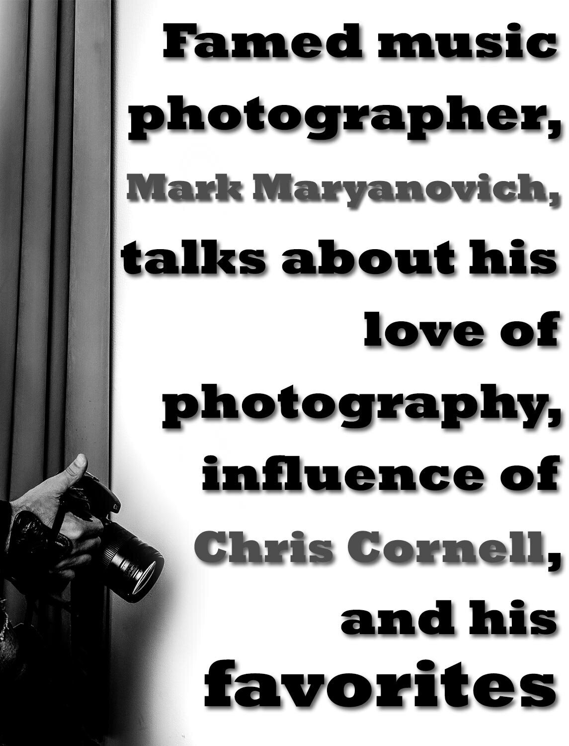 interview featuring Mark Maryanovich publication Talent In Borders black text on white Marks hand and camera in left corner of frame page 2