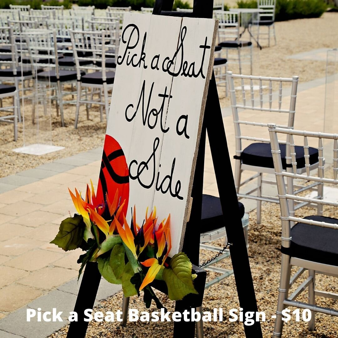 pick a seat basketball sign