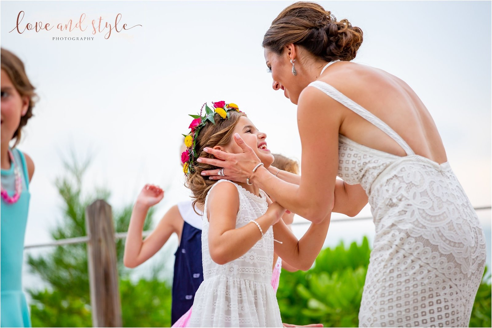 Bride dancing with her daughter at The Beach House Restaurant  on Anna Maria Island