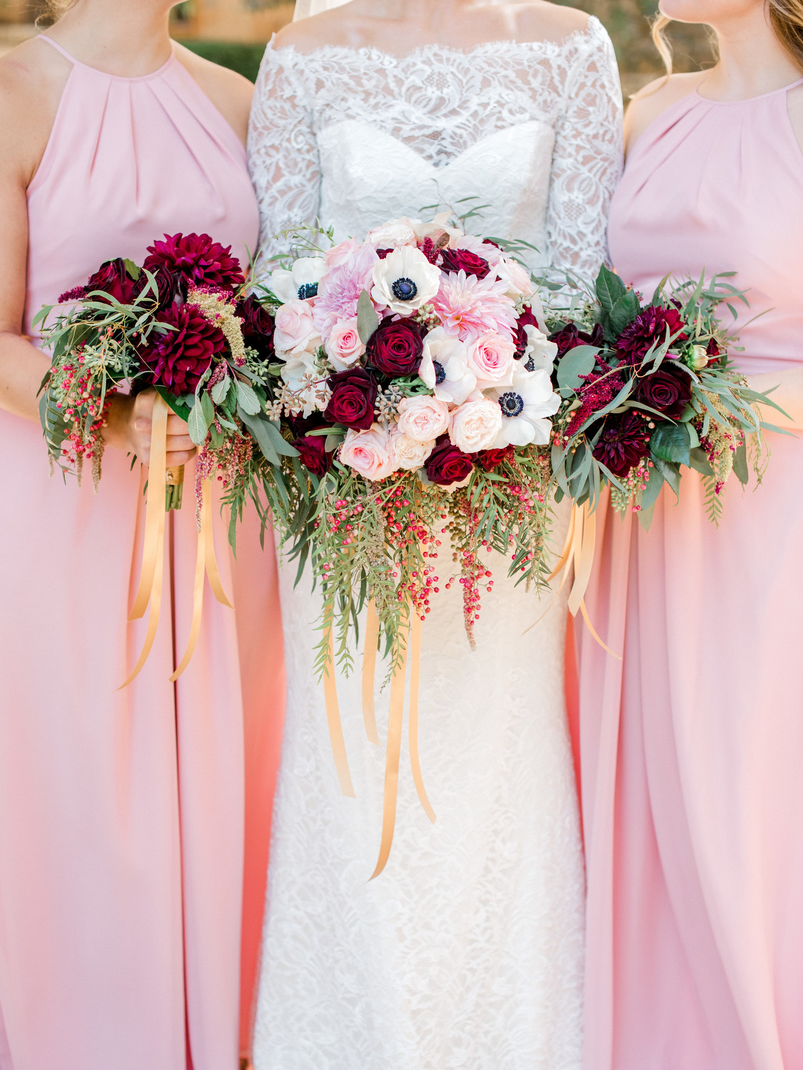 stunning blush bridesmaid dresses and florals