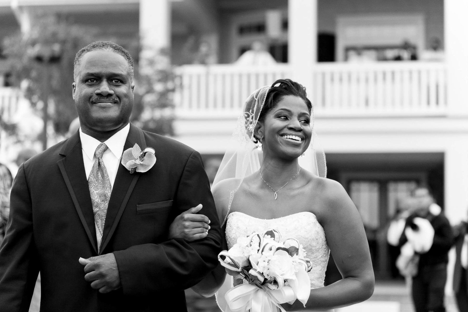 Bride and father walk down aisle, Heritage Shores Club, Bridgeville, Delaware. Kate Timbers Photography.