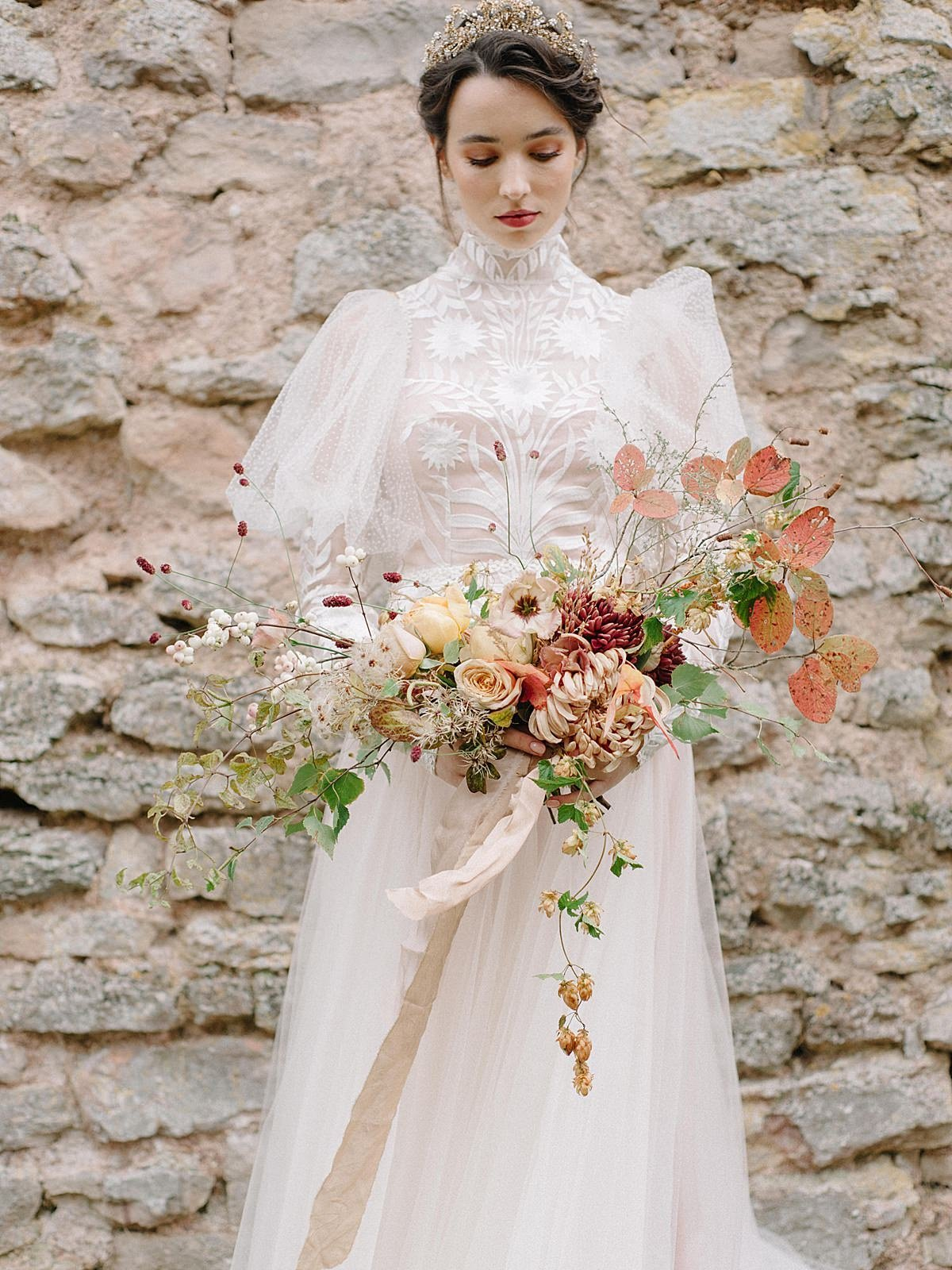 Helianthus-high-neck-puff-sleeve-wedding-dress-JoanneFlemingDesign-CelineChhuonPhoto (83)_WEB