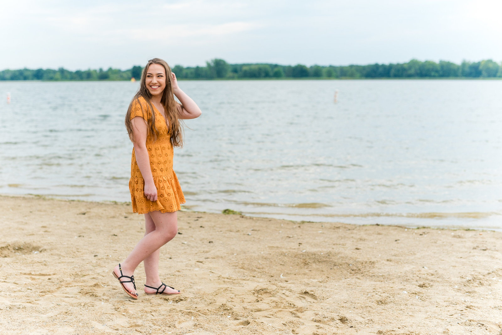 Lakeside Water Senior Session Yellow Summer Dress Virginia Senior Photographer