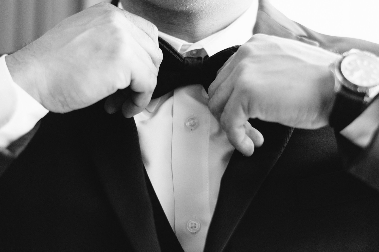charlotte wedding photographer shot of bow tie from groom