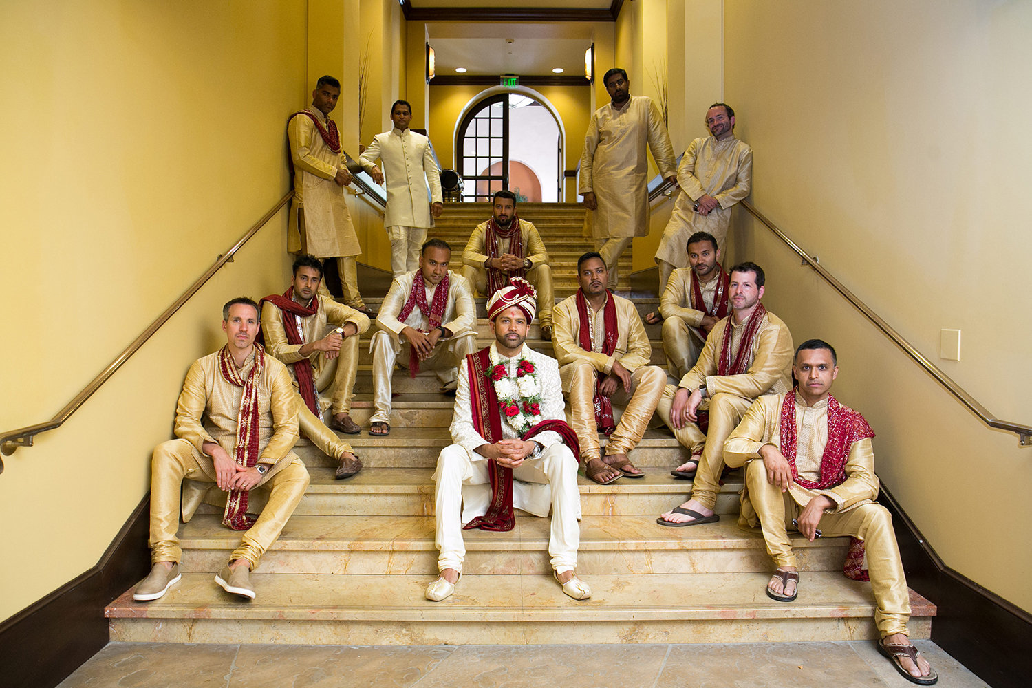 The groom with his groomsmen prior to his Hindu wedding ceremony