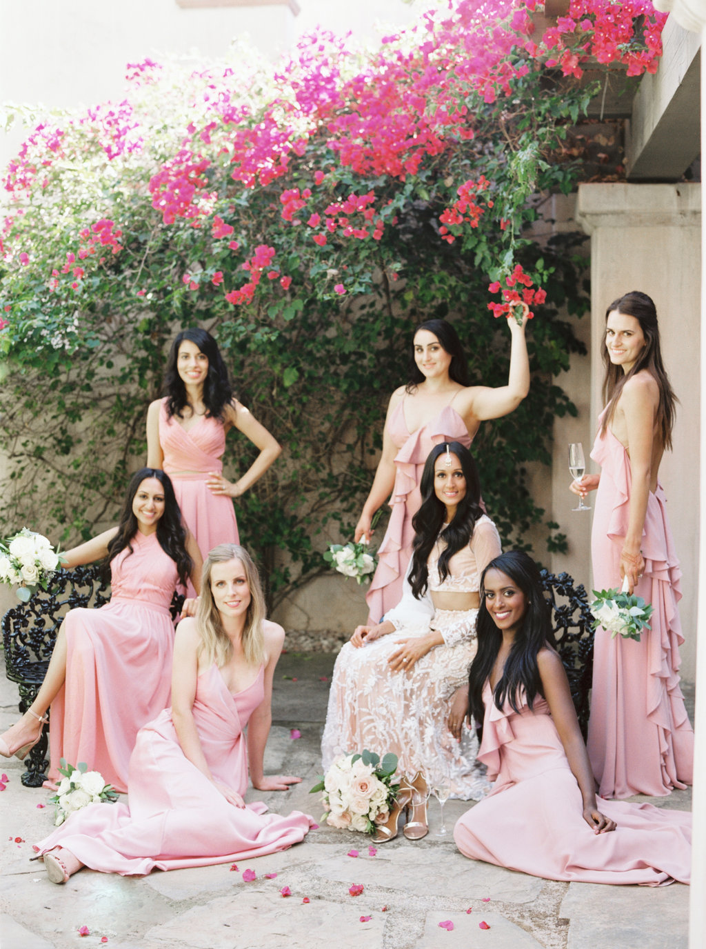 Bride and bridesmaids in vogue inspired wedding party photo