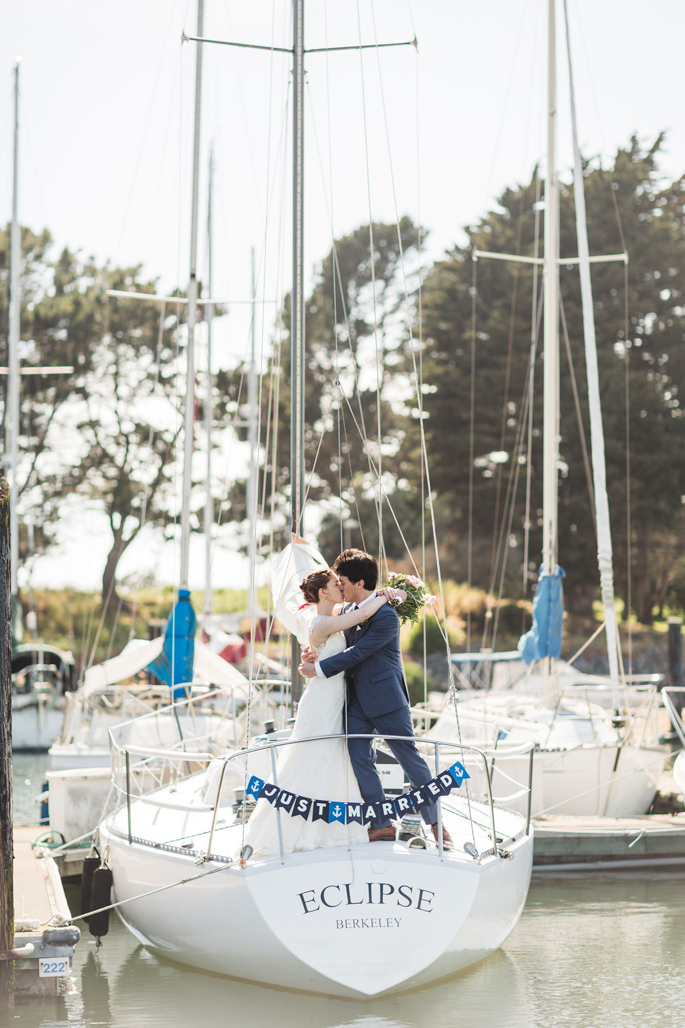 wedding shoot on couples' boat at berkeley marina