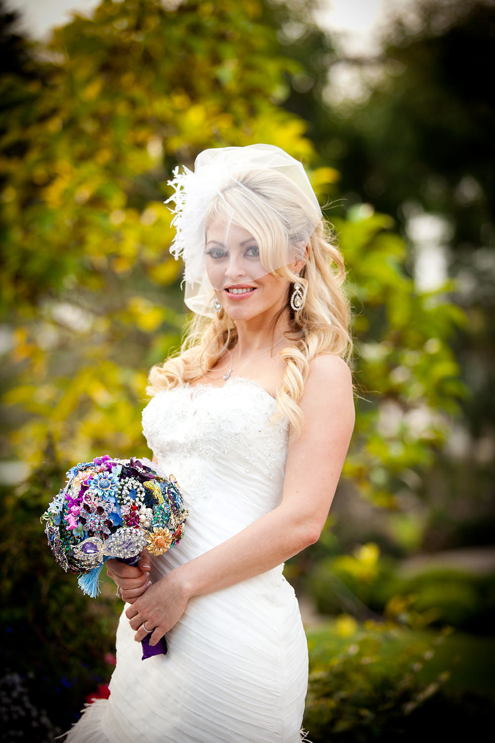 bride with vintage bouquet