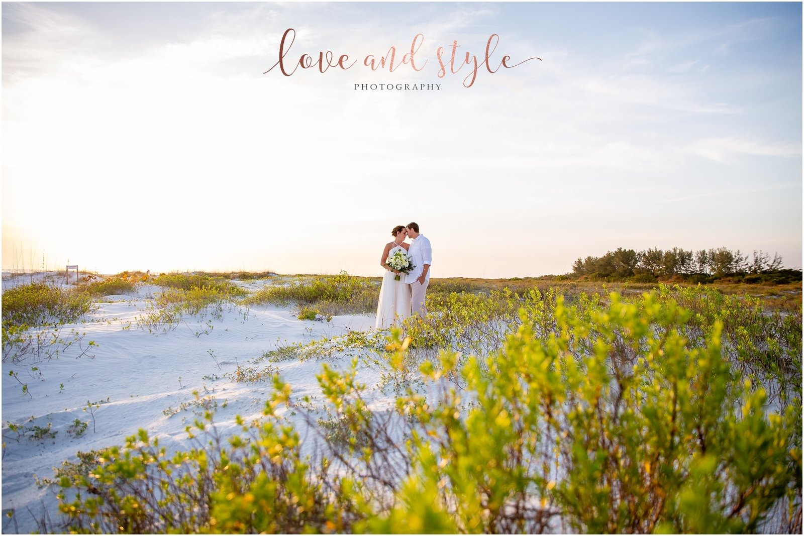 Lido Beach Wedding Photography of bride and groom at sunset