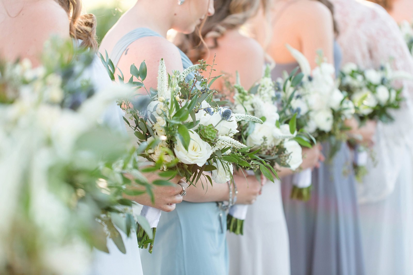 blue wedding flowers blue bridesmaid dresses wedding photography by kimberly photography
