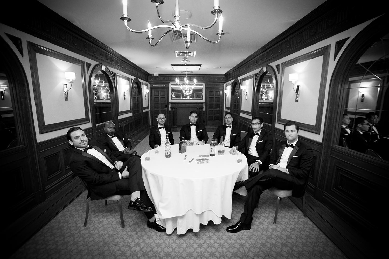 groomsmen black and white us grant hotel