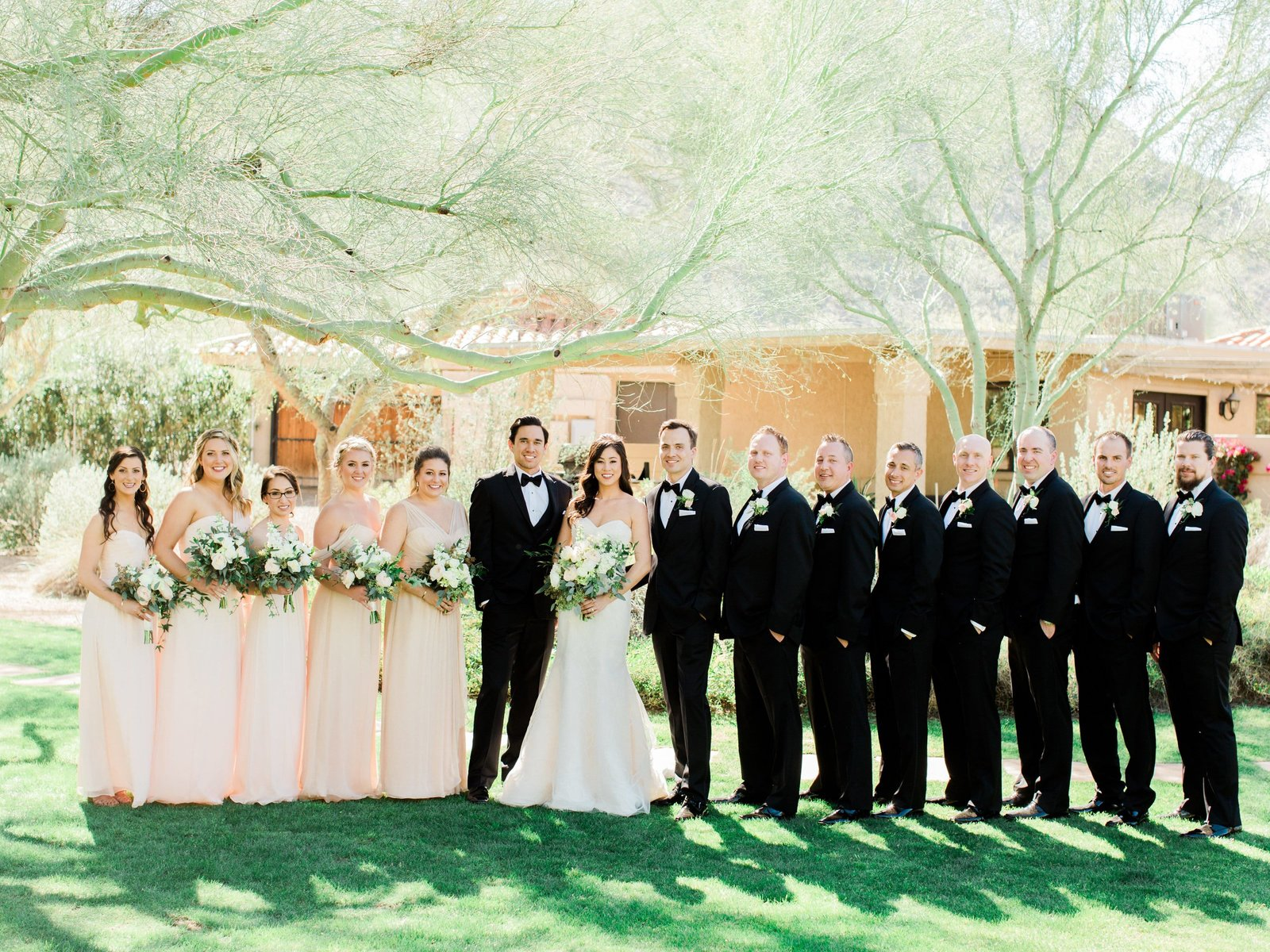 beautiful blush wedding, bridal party