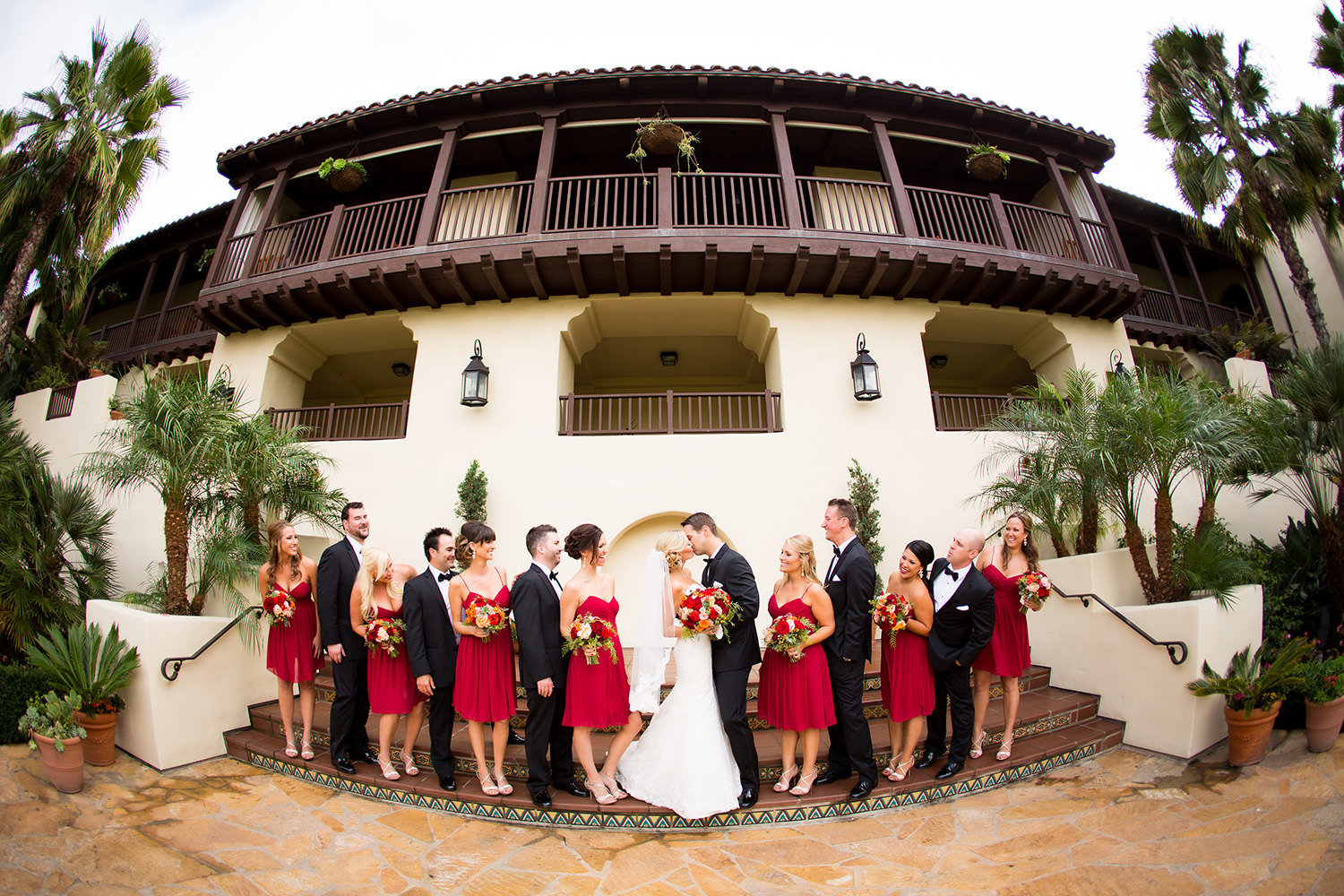Fish eye photo of the wedding party at Estancia in La Jolla